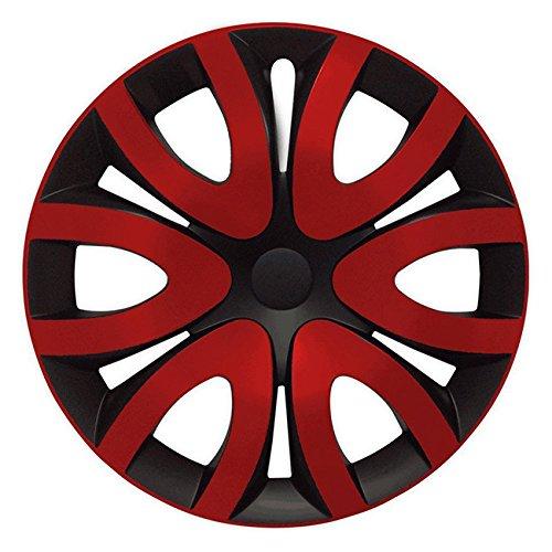 (Größe wählbar) 16 Zoll Radkappen / Radzierblenden MIKA Schwarz/Rot passend für fast alle Fahrzeugtypen – universal