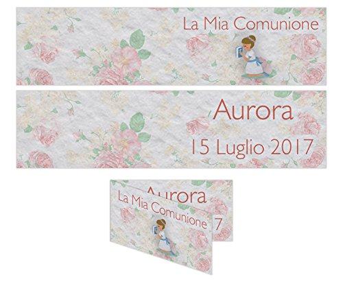 Bigliettino confetti comunione 5x2,5 cm 20pz - personalizzabile femmina partecipazione personalizzata