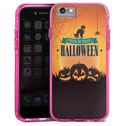 Apple iPhone 8 Bumper Hülle Bumper Case Glitzer Hülle Halloween Pumpkin Trick or Treat Bumper Case transparent pink