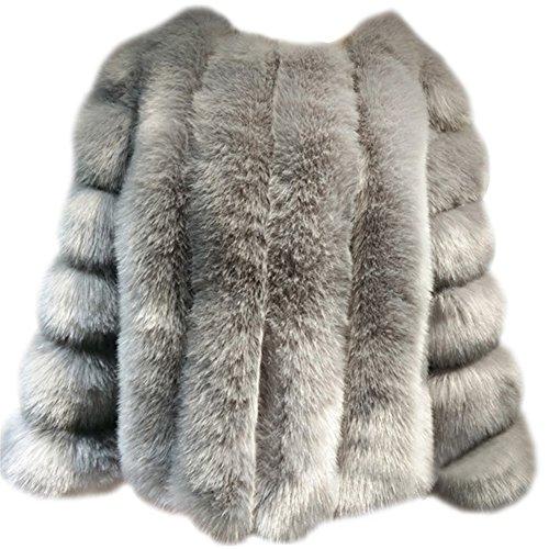 Damen Jacke Faux Pelz Warm Kunstfur Langarm Jacket Kurz Mantel Felljacke Tops Grau S -