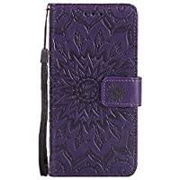 BoxTii LG G6 Case [with Free Tempered Glass Screen Protector], Leather Wallet Case with Lanyard Strap and Card Holder for LG G6, Shockproof Design Protective Cover and Flip Case for LG G6 (#7 Purple)