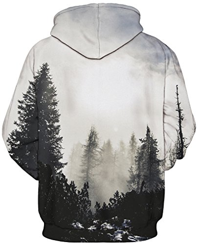 EmilyLe Herren digitaldruck Galaxy Bunt Sweatshirt Langarm Kapuzenjacke mit Tier Muster Frühling Jumper Fashion Pullover grau Wald
