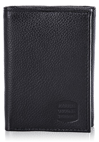 bc5220ec3e33 Suvelle Trifold Mens Genuine Leather RFID Blocking Slimfold Travel Wallet  WR91