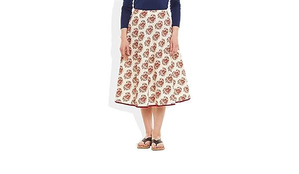 8c37c031c4 Very Me Women's Designer Red Pure Cotton Printed Medium Length Skirt:  Amazon.in: Clothing & Accessories