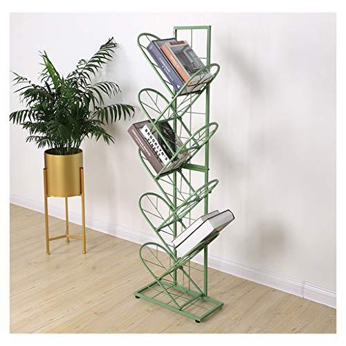 Kreative Boden Zeitungsständer Einfache Mehrschichtige Bücherregal Zeitungsständer Nordic Moderne Büro Wohnzimmer Schlafzimmer Studie Café Bibliothek 3 Farben Optional (Color : Green)