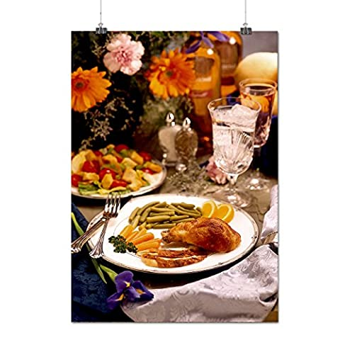 Chicken With Vegies Cafe Food Matte/Glossy Poster A3 (42cm x 30cm) | Wellcoda