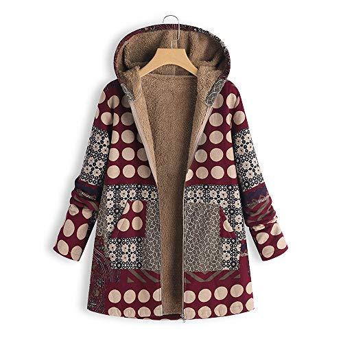 SEWORLD Mantel Sweatshirt Strickjacke Damen Langarm Warmer Freizeit Sport Große Größe Dicke Mäntel Reißverschluss Mantel mit Kapuze Pullover(W4-weinrot,EU-50/CN-5XL)