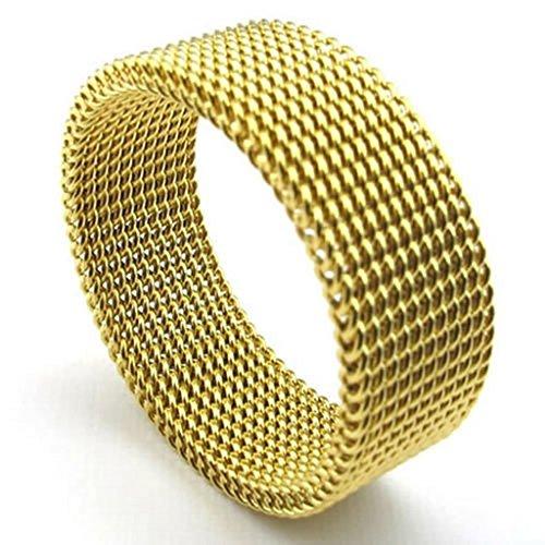 Adisaer Herren Ring Edelstahl Breite Kette Ringe Gold Für Männer Ring Größe 67 (21.3) (Kostüme 50's Stil Männer)