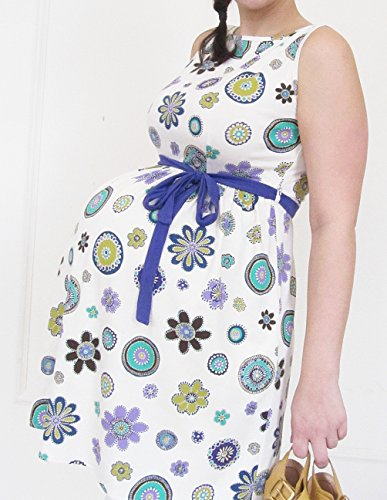 Haut de grossesse, maternité Tunique sans manches, coton maternité Femme Mia, Maternité, Grossesse Porter, convient pour la grossesse et au-delà floral dots, purple belt S floral dots, purple belt