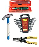 #7: Ketsy 777 Hand Tool Kit 16 Pcs.(Screwdriver set of 6 Pcs.,Doe Spanner set of 8 pcs.,Combination plier 8 inch,Curved claw hammer wooden 1/2lb)