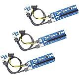 YIKESHU PCIe PCI-E 16x 8x 4x 1x alimentado Riser adaptador de tarjeta w / 60cm USB 3.0 cable de extensión y 6-pin PCI-E a SATA Cable de alimentación - GPU Riser adaptador - Ethereum Minería ETH (3pcs)
