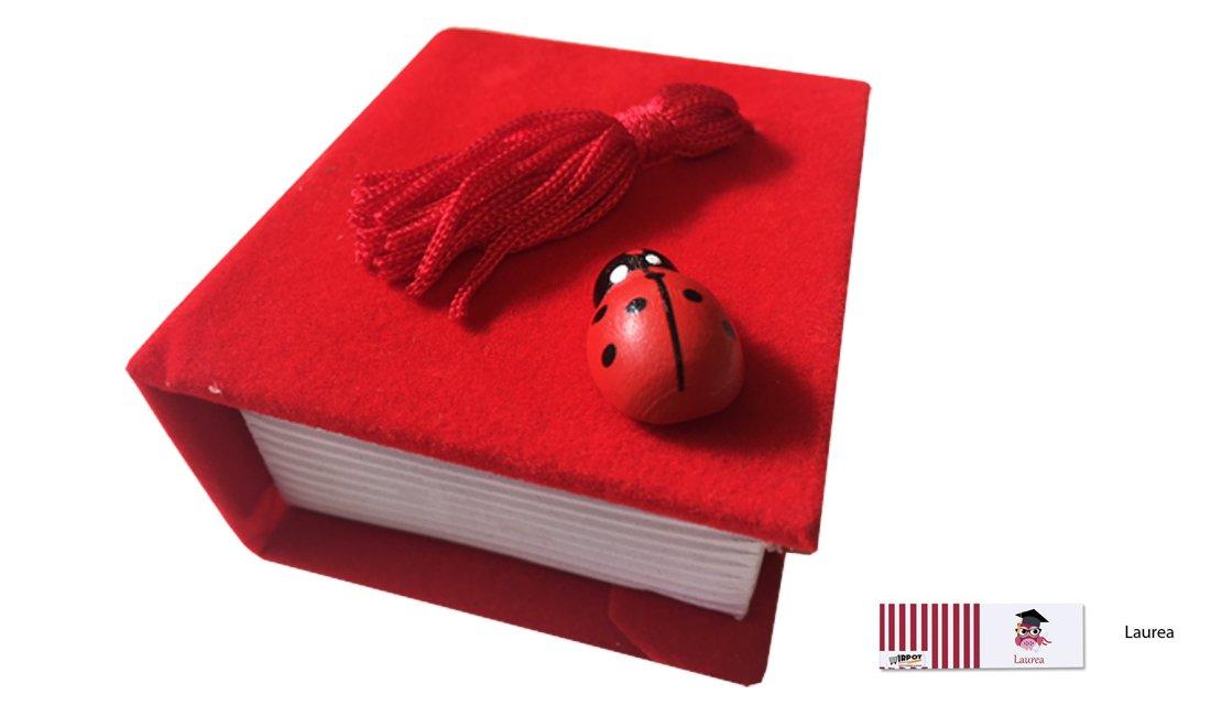 IRPot - KIT 24 PZ Portaconfetti Libro Velluto Laurea TK0806 (Rosso/Nero) (Rosso)