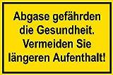 Warnschild - Abgase gefährden die Gesundheit.