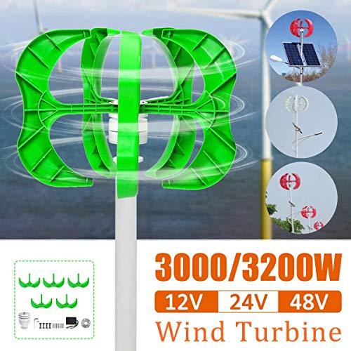 FDGBCF Generatore Eolico 3200W / 3000W 5 Pale generatore 12/24 / 48V Turbine eoliche ASSE Verticale per lampione Domestico + Controller,24v,3200W