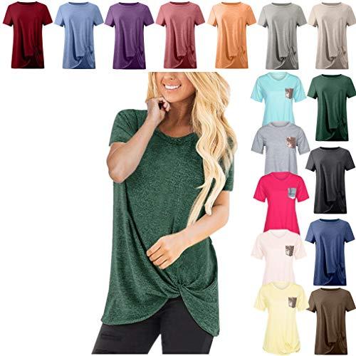 Dorical Kurzarm T-Shirt Damen O-Ausschnitt Casual Sommer Lose Shirt Oversize Oberteile Frauen Freizeit Twist Knoten Bluse Tägliche Einfarbige Tops 14 Farben S-XXXL Größe Sale(Grün,XXX-Large)