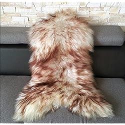 Islandés Alfombra De Piel De Oveja Genuina, Mejor Calidad (Teñido medio: 120-130 cm)
