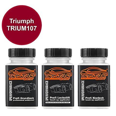 Motorradlack Lackstift Set Triumph TRIUM107 Candy Apple Red Metallic Grundlack Basislack Klarlack je 50ml
