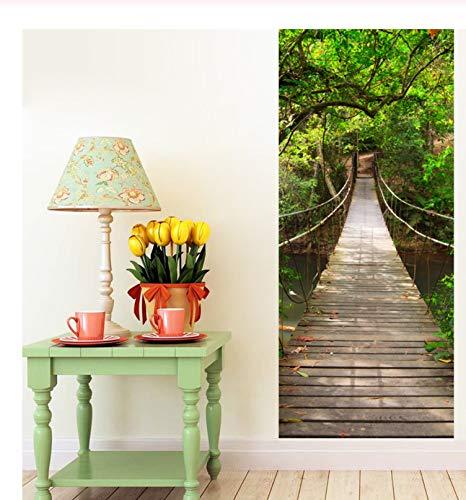 laoniebaozhuang Tür Aufkleber 3D Hängebrücke Für Schlafzimmer Kinderzimmer wasserdichte Tapete PVC Wandhaupt Decoracion Aufkleber De Fiestas Y Eventos 90X215 cm