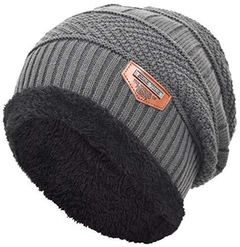 EASTER BARTHE Herren dicker warmer winter mit fleece-futter strickmütze hut baggy aufmaß slouchy stocking beanie skull cap einheitsgröße grau Fleece Skull Cap Hat