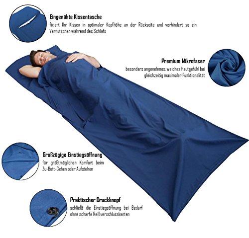 51lILX25GSL - BeMaxx Sleeping Bag Liner + Pillow Inlet Outdoor – Compact, Lightweight Inlay | Summer Microfibre Bedroll | Space–saving…