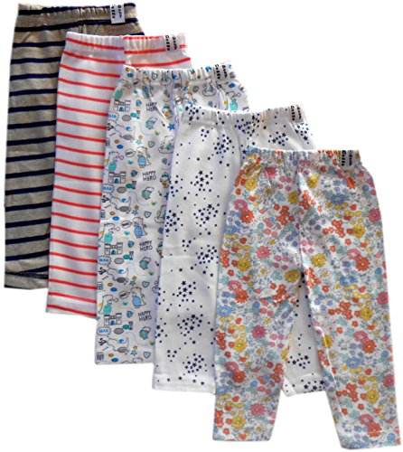 NammaBaby Baby Boy's and Baby Girl's Cotton Mixed Prints Pajama Pants (Multicolour, 18-24 Months) - Set of 5