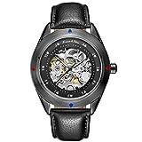 KS Herren Armbanduhr Uhren für männer Automatische Skelett Mechanische Edelstahl Leder Armband Lederband Uhr Geschenbox Schwarz KS383