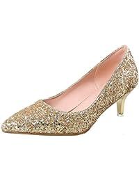 ace6ebd72a44 Vitalo Women s Glitter Kitten Heel Court Shoes Ladies Pointed Toe Sparkly Wedding  Pumps