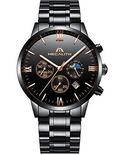 Orologio uomo acciaio inox orologio lusso impermeabile cronografo data calendario quadrante grande analogico al quarzo orologio da polso business casuale cronometro design unico con cinturino nero
