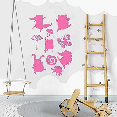 guijiumai 10 Teile/Satz Tier wandaufkleber niedlichen Baby kinderzimmer dekor wandbild DIY Selbstklebende Aufkleber kinderzimmer Kunst Home wanddekoration l 5 s 56 cm x 80 cm