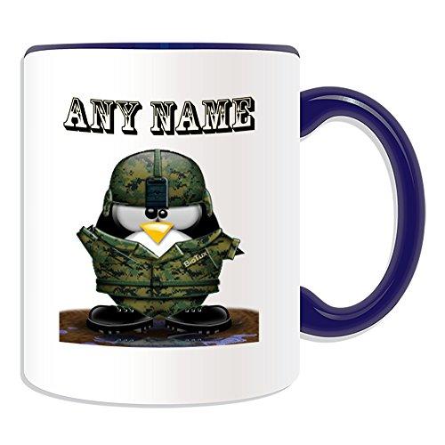 Personalisierter Geschenk-Soldat mit Helm Becher (im Pinguin-Design-Design, verschiedene Farben) Name und Nachricht, an ihr einzigartiges-Becher Salute Militär Army Armee-Uniform, keramik, blau -
