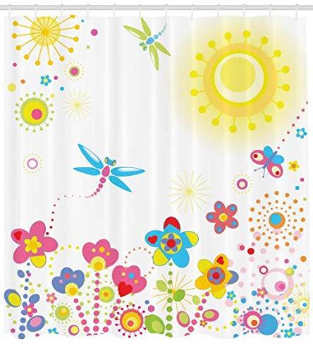 ABAKUHAUS Libelúla Cortina de Baño, Fondo Floral Tema Verano con Rayos de Sol Dandeliones Coloridos Felicidad Gráfico, Material Resistente al Agua Durable Estampa Digital, 175 X 200 cm