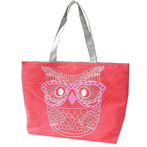Zrong da donna gufo borsa di tela spalla shopping tote borsa da spiaggia tela borsa, Purple (viola) - ZrongBB148 Red