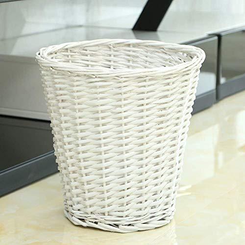 JOLLY Household Essentials Woven Seagrass Wicker Abfallbehälter - für Badezimmer und Schlafzimmer - Natürlich (Farbe : Weiß) (White Wicker Mülltonne)