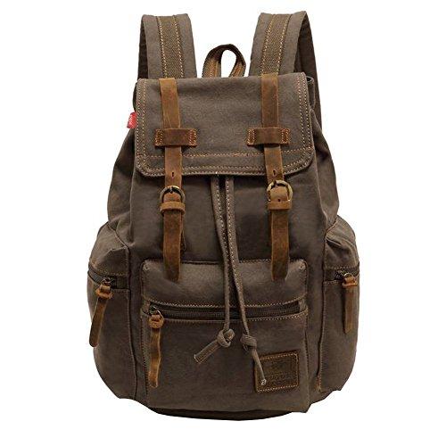 59fe97d65b4 Vintage Unisex Casual Leather Backpack Canvas Rucksack Bookbag ...
