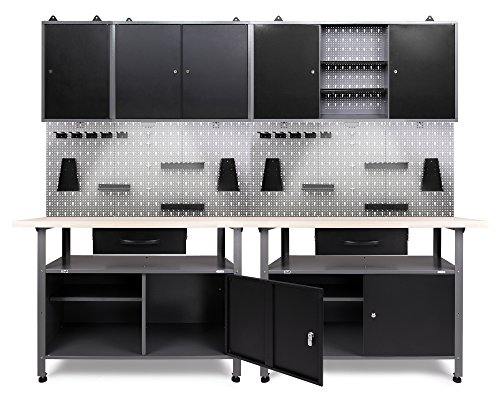 Ondis24 Werkstatt Set Klaus 240 cm 3 Schränke LED (Arbeitshöhe 85 cm, Schwarz)