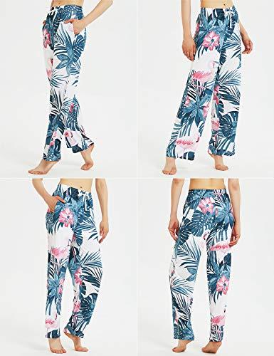 2 Tasche Pantaloni Estivi da Spiaggia Pantaloni Pigiama Pantaloni Casual a Gamba Larga Pantaloni da Donna Casual a Fantasia Floreale