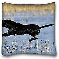 Decorativo Quadrato Throw Pillow Case animali cane lana colore Nero Volo coda piedi Lago Stagno gocce Spray 18x 18in due lati