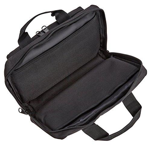 Gepolsterte Doppel-Pistolentasche Waffentasche mit Magazinfächern, abschließbar Schwarz