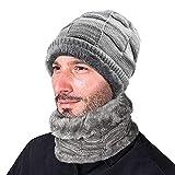 XIAOYAO Gorros de Invierno con Bufanda Sombrero Punto con Forro Polar Interno es Muy Suave (Gris)
