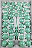 39 TLG. Glas-Weihnachtskugeln Set in Hochglanz Modern Mint Silberne Ornamente - Edle Neuheit - Christbaumkugeln - Weihnachtsschmuck - Christbaumschmuck
