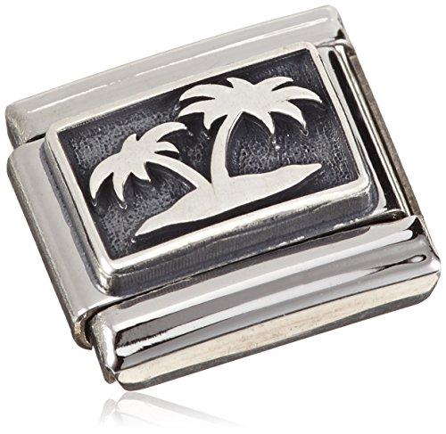 Nomination Damen-Charm 925 Silber Oxidiert Insel mit Palmen Edelstahl - 330102/12