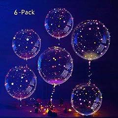 Idea Regalo - IvyLife Palloncini LED BoBo Palloncino Trasparente 6 Pezzi con LED Luce Stringa 18 Pollici per Festa Compleanni Matrimoni Natale Decorazioni Vacanze