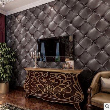 3D stereo imitation soft room living room TV wall wall KTV wallpaper realistic imitation leather bedroom bedside wallpaper , jujube grey 3232