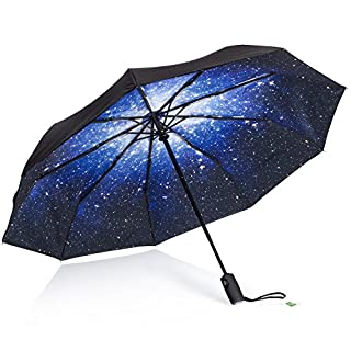 AYL Windproof Travel Umbrella with Teflon Coating and Zipper Pouch -  Blue -