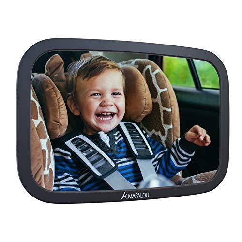 Rücksitzspiegel für Babys aus bruchsicherem Material, Auto Rückspiegel für Kindersitz und Babyschale, 360° schwenkbar, Autospiegel in optimaler Größe, Spiegel ohne Einzelteile/Schrauben