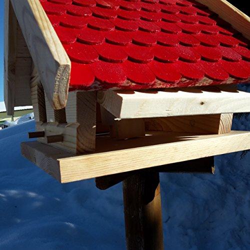 Vogelhaus-XL Rot- Vogelhäuser-Vogelfutterhaus Vogelhäuschen-aus Holz Wetterschutz Putzklappe - 4
