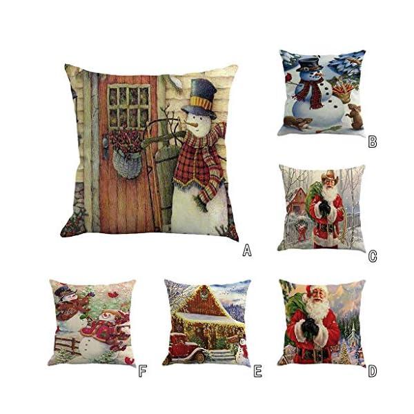 IJKLMNOP Christmas Pillow Square Pillow Case Lino Mat 45x45cm es Adecuado para oficinas, Casas, automóviles, cafeterías… 5