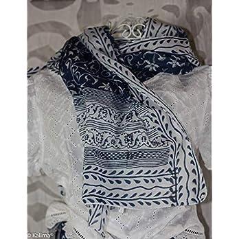 Halstuch Weiß Blau, Handdruckerei Kalima
