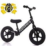 CHRISTMAD Balance Bike Kohlenstoffstahl Verstellbarer Griff Und Sitzhöhe Für 2-5-jährige Jungen Und Mädchen Mit Schutzausrüstung 12 '',Black
