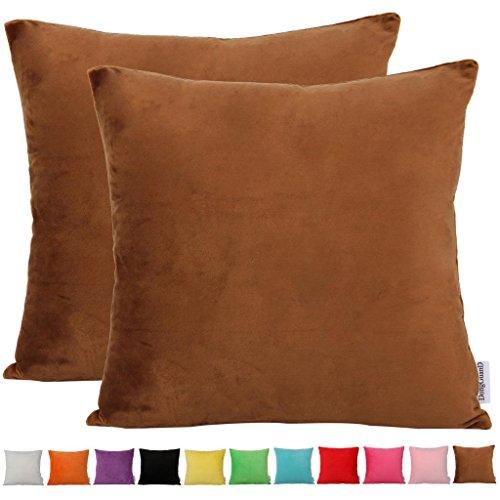 """Comoco Juego de 2 fundas decorativas para cojín de franela suave, para sofá, disponibles en 15 colores lisos y 7 tamaños, marrón, 20""""x20"""" 50X50cm"""